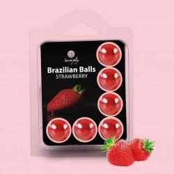 BOLAS LUBRIFICANTES BEIJÁVEIS BRAZILIAN BALLS SABOR A MORANGO 6 x 4GR